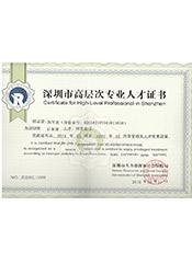 深圳高层次专业人才证书